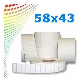 58x43 mm etichette termiche da 1000 pz per stampanti e bilance Conf 25 rot