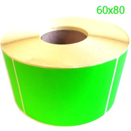 60x80 mm Rotolo etichette vellum verde fluo' adesivo permanente da 800 pz