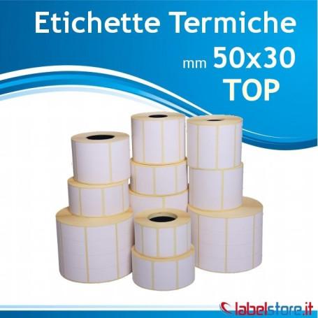 50x30 mm Rotolo etichette termiche TOP da 1800 pz con Sconto Quantita'