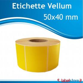 Rotolo etichette vellum mm 50x40 GIALLE da 1000 pz removibile