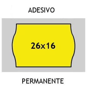 Etichette 26x16 FLUO' GIALLO adesivo Permanente per prezzatrice