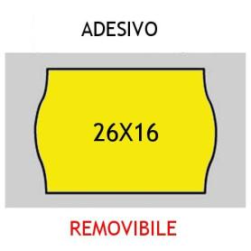 Etichette 26x16 FLUO' GIALLO adesivo REMOVIBILE per prezzatrice