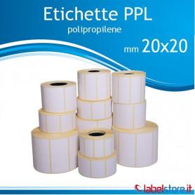 20x20 mm etichette adesive  PPL BIANCO da 2000 pz - Confez 10 rotoli