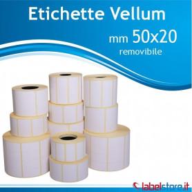 50x20 mm Rotolo etichette VELLUM da 3000 pz ADESIVO REMOVIBILE