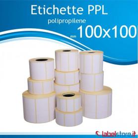 100x100 mm Rotolo etichette adesive  PPL bianco lucido