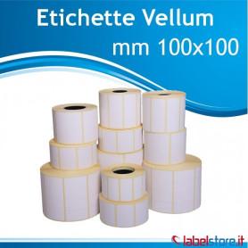 100x100 mm Rotolo etichette VELLUM da 500 pz Conf 15 rot