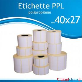 40X27 mm Rotolo etichette adesive  PPL bianco da 1500 pz