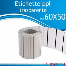 60x50 mm Rotolo etichette adesive PPL TRASPARENTE da 1000 pz