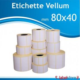 80x40 mm etichette vellum adesivo permanente da 1000 pz