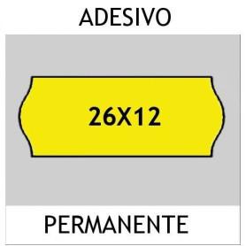 Etichette 26x12 FLUO' GIALLO adesivo Permanente per prezzatrice