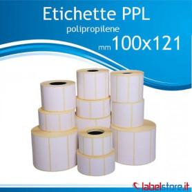 100x121 mm Rotolo etichette adesive PPL bianco da 500 pz