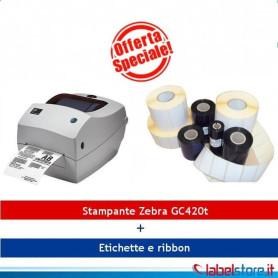 Stampante Zebra GC420T KIT con 10 rotoli etichette e Ribbon