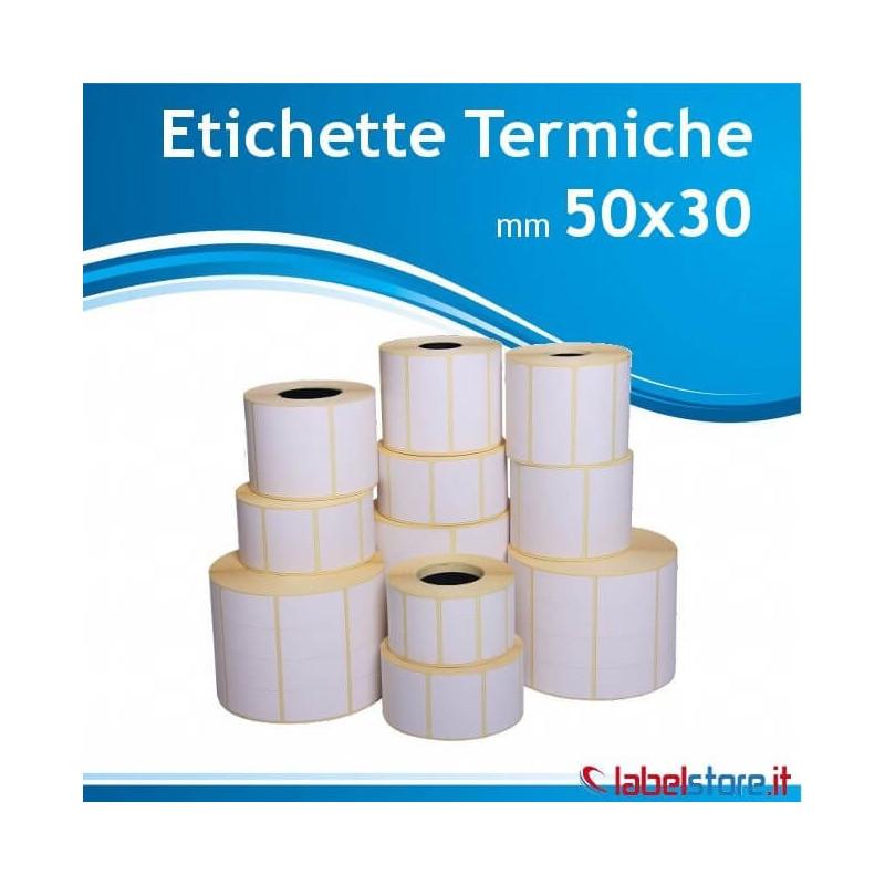 50x30 mm Rotolo etichette termiche da 1800 pz con Sconto Quantita'