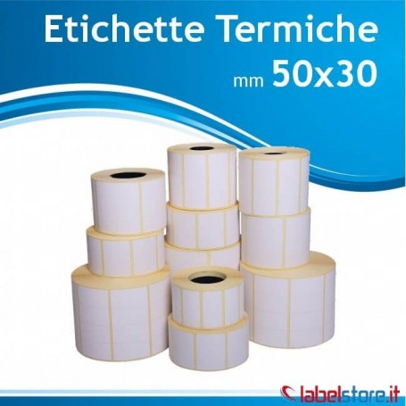 50x30 mm Rotoli etichette termiche adesivo permanente - Confez. 25 rotoli