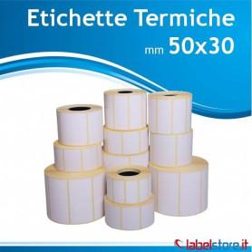 50x30 mm Rotoli etichette TERMICHE adesivo permanente - Confez. 50 rotoli