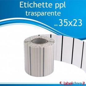 35x23 mm 10 rotoli etichette adesive PPL TRASPARENTE da 2500 pz