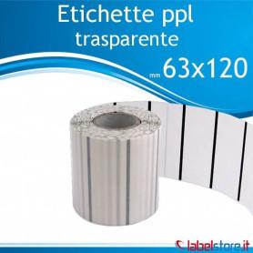 63x120 mm Rotolo etichette adesive PPL trasparente da 1000 pz