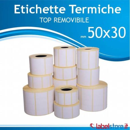 50x30 mm Rotolo etichette Termiche TOP Removibile da 1800 pz