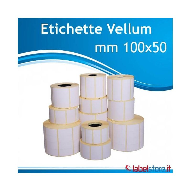 100x50 mm etichette vellum adesivo permanente da 1000 pz