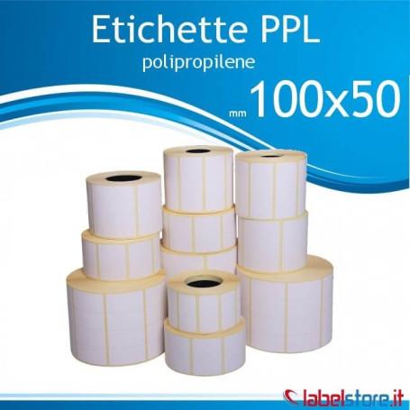 100x50 mm Rotolo etichette adesive  PPL bianco da 1000 pz  - Conf. 10 Rot