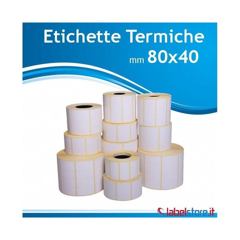 80x40 mm Rotolo etichette termiche da 1500 pz per stampanti termiche
