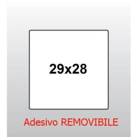 ETICHETTA 29x28 BIANCO CON ADESIVO REMOVIBILE PER PREZZATRICE