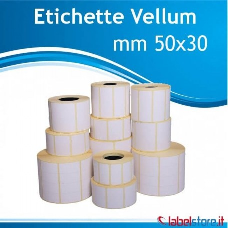 50x30 mm Rotolo etichette Vellum adesivo permanente con Sconto Quantita'