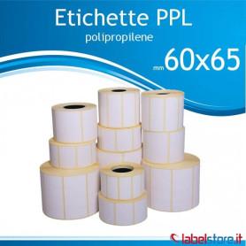 60x65 mm Rotolo etichette adesive PPL bianco lucido da 500 pz