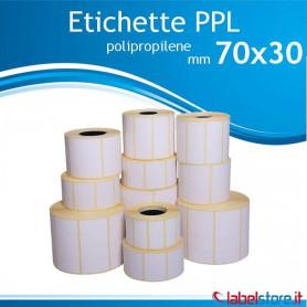 70x30 mm Rotolo etichette adesive  PPL bianco da 1500 pz