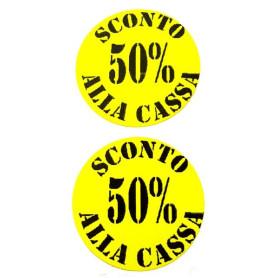 Etichetta tondo diametro 35 mm giallo con stampa 50% sconto