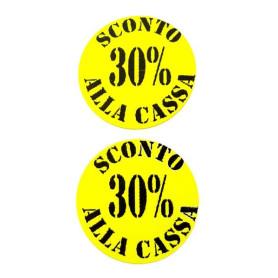Etichette rotonde diametro 35 mm giallo con stampa 30% sconto