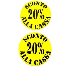 Etichette rotonde diametro 35 mm giallo con stampa 20% sconto