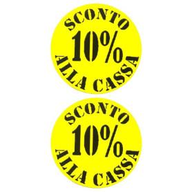 Etichette rotonde diametro 35 mm giallo con stampa 10% sconto