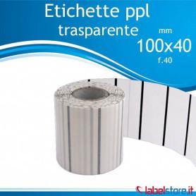 100x40 mm Rotolo etichette adesive PPL trasparente