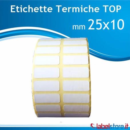 Rotolo etichetta 25x10 mm Termica Top adesivo permanente doppia pista con Sconto Quantita'