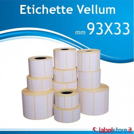 Rotolo etichette 93x33 mm VELLUM con adesivo permanente
