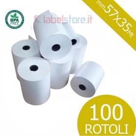 Rotoli 57x35 mt in carta termica omologata per scontrini fiscali 100 pz
