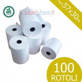 Rotoli 57x30 mt in carta termica omologata per scontrini fiscali 100 pz