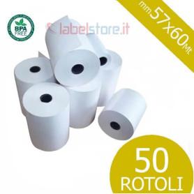 Rotoli 57x60 mt in carta termica omologata per scontrini fiscali 50 pz