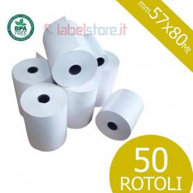 Rotoli 57x80 mt in carta termica omologata per scontrini fiscali 50 pz