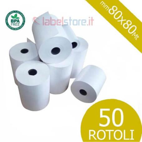 Rotoli 80x80 mt in carta termica omologata per scontrini fiscali 50 pz