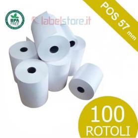 Rotoli 57 mm per ricevute pagamento POS carta termica senza BPA 100 pz
