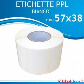57x38 mm Rotolo etichette adesive PPL BIANCO lucido stampabili a trasferimento termico