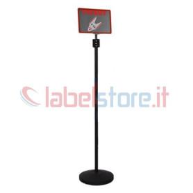 Piantana in metallo per sistema eliminacode completo di distributore scontrini e cartello istruzioni