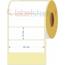 60x15 mm Rotolo etichette VELLUM a trasferimento termico adesive bianche stampabili