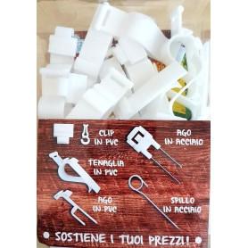 Attacco a tenaglia per cartellini segnaprezzi in PVC per vassoio e cassette