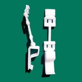 Supporto per cartelli segnaprezzi con attacco snodabile per vassoio o cassette