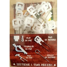 Attacco per cartellini segnaprezzi con doppia punta acciaio e snodo pvc