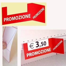 Cartello Segnaprezzo in pvc per scaffale con bandiera laterale e stampa PROMOZIONE