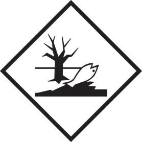 100x100 mm Etichette polipropilene BIANCO con logo pericoloso per l'ambiente